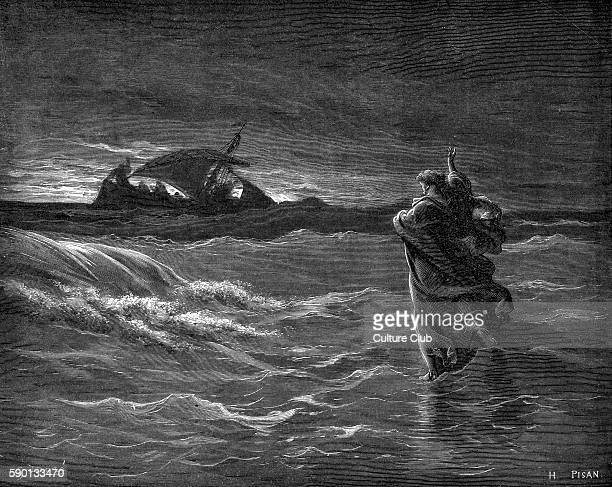 Jesus walks on water illustration by Gustave DorŽ