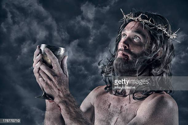 jesus with cup of wine - jesus blood stock pictures, royalty-free photos & images