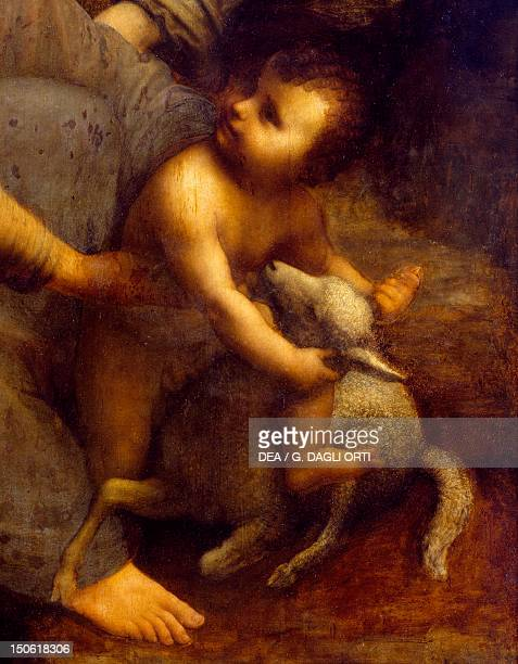Jesus with the lamb detail from St Anne the Virgin and Child with the lamb 15081513 by Leonardo da Vinci oil on canvas 168x130 cm