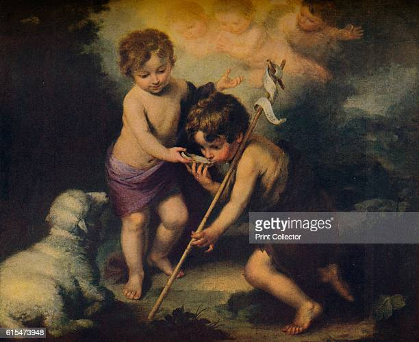 Jesus y Juan El Bautista Ninos' The infant Christ holds a shell for his cousin John to drink In the sky the heavens open to reveal cherubs who...