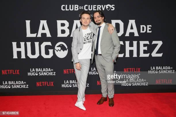 Jesus Zavala and Aldo Escalante attend Netflix 'La Balada de Hugo Sanchez' special screening at Alboa Patriotismo on June 13 2018 in Mexico City...