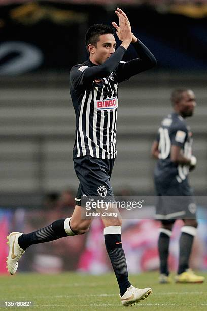 Jesus Zavala of Monterrey celebrates after scoring his team's third goal during the FIFA Club World Cup 5th Place match between Club de Futbol...