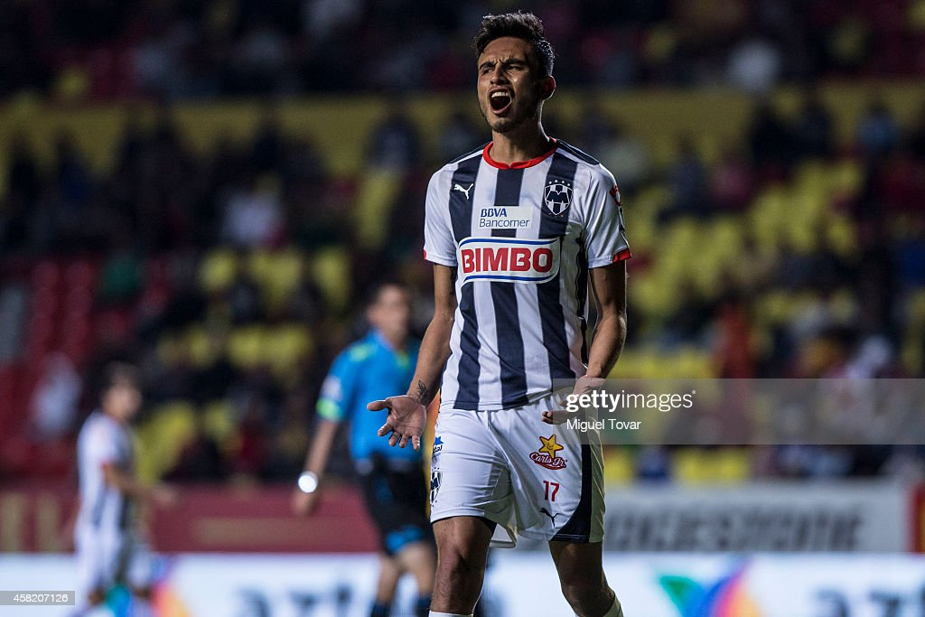 Jesus Zavala of Monterrey reacts after missing a chance during a match between Morelia and Monterrey as part of 15th round Apertura 2014 Liga MX at Jose Maria Morelos y Pavon Stadium on October 31, 2014 in Morelia, Mexico.