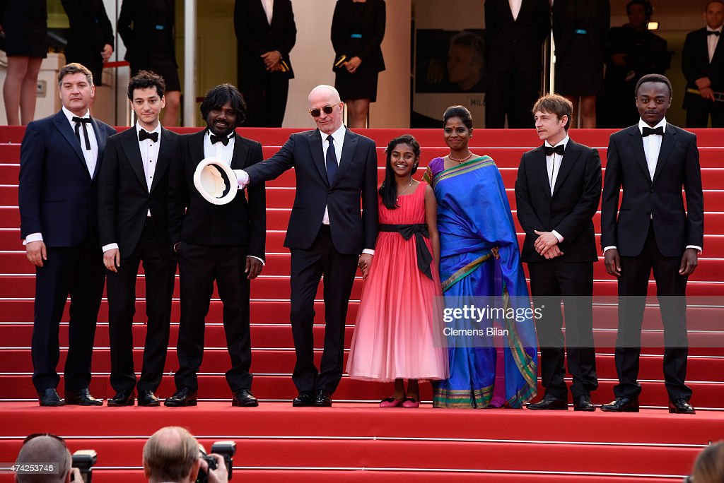 Jesuthasan Antonythasan, Claudine Vinasithamby, Jacques Audiard, Kalieaswari Srinivasan, Vincent Rottiers and Marc Zinga attend the Premiere of 'Dheepan' during the 68th annual Cannes Film Festival on May 21, 2015 in Cannes, France.