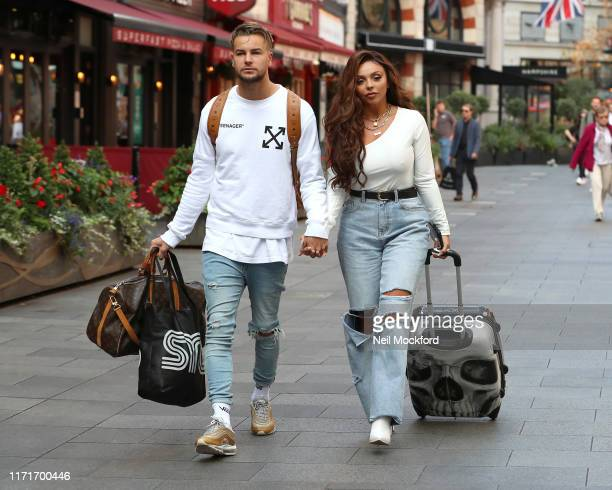 Jesy Nelson and Chris Hughes seen leaving Heart Breakfast radio studios on September 02 2019 in London England