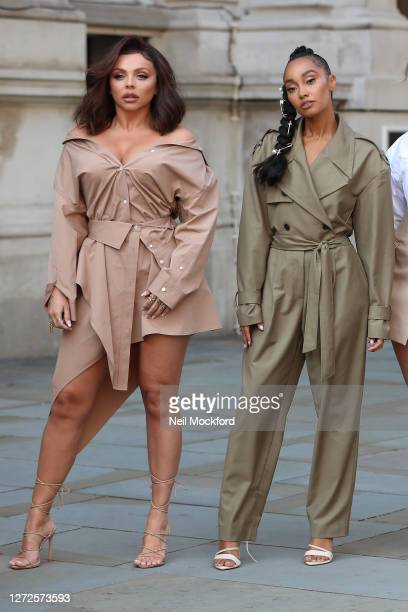 Jesy Nelson and LeighAnne Pinnock from Little Mix seen leaving the Langham Hotel ahead of their performance of BBC Radio One Live Lounge on September...