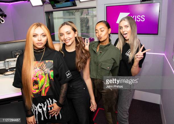 Jesy Nelson, Jade Thirlwall, Leigh-Anne Pinnock and Perrie Edwards of Little Mix visit Kiss FM on February 04, 2019 in London, England.