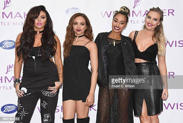 Jesy Nelson Jade Thirlwall LeighAnne Pinnock and Perrie Edwards of 'Little Mix' launch their new fragrance 'Wishmaker' at Lakeside Shopping Centre on...