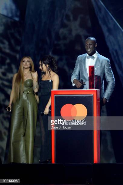 AWARDS 2018 *** Jesy Nelson Jade Thirlwall of Little Mix and Stormzy on stage at The BRIT Awards 2018 held at The O2 Arena on February 21 2018 in...