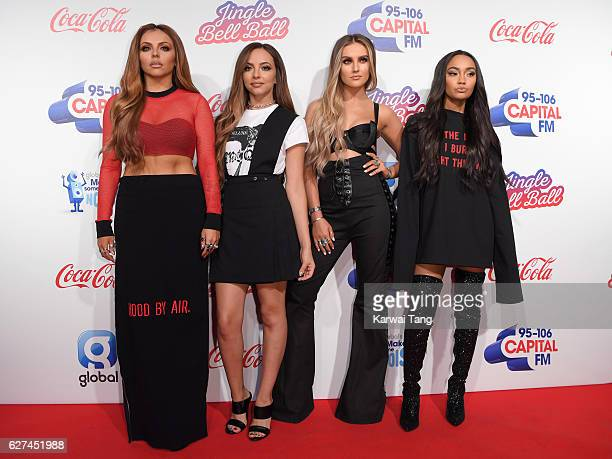 Jesy Nelson Jade Thirlwall Perrie Edwards and LeighAnne Pinnock from Little Mix attend Capital's Jingle Bell Ball with CocaCola at the 02 Arena on...