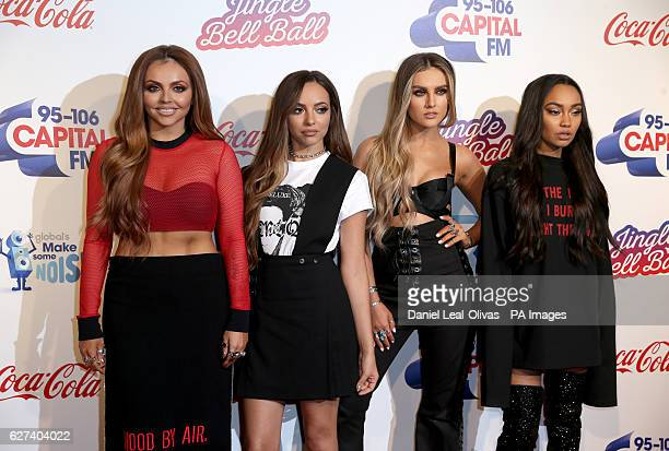 Jesy Nelson Jade Thirlwall Perrie Edwards and LeighAnne Pinnock of Little Mix during Capital's Jingle Bell Ball with CocaCola at London's O2 arena