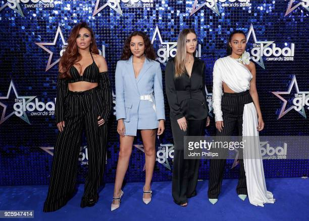 Jesy Nelson Jade Thirlwall Perrie Edwards and LeighAnne Pinnock of Little Mix attend The Global Awards 2018 at Eventim Apollo Hammersmith on March 1...