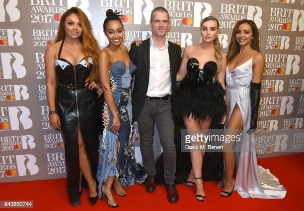 ONLY Jesy Nelson LeighAnne Pinnock Daily Star reporter James Cabooter Perrie Edwards and Jade Thirlwall of Little Mix attend The BRIT Awards 2017 at...