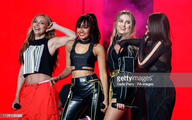 Jesy Nelson LeighAnne Pinnock Jade Thirlwall and Perrie Edwards of Little Mix perform on stage during The Global Awards 2019 with Verycouk held at...