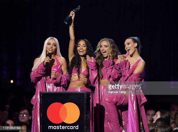 Jesy Nelson LeighAnne Pinnock Jade Thirlwall and Perrie Edwards of Little Mix winners of the Best British Artist Video of the Year award during The...