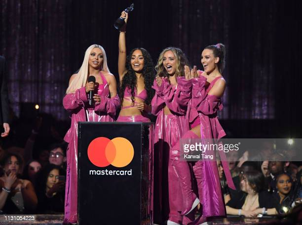 Jesy Nelson, Leigh-Anne Pinnock, Jade Thirlwall and Perrie Edwards of Little Mix, winners of the Best British Artist Video of the Year award during...