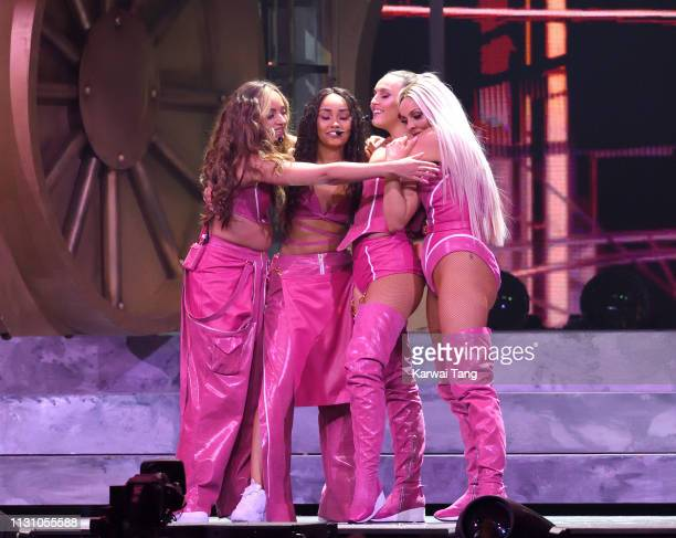 Jesy Nelson LeighAnne Pinnock Jade Thirlwall and Perrie Edwards of Little Mix perform during The BRIT Awards 2019 held at The O2 Arena on February 20...