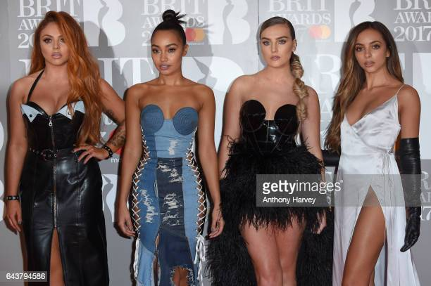 Jesy Nelson LeighAnne Pinnock Perrie Edwards and Jade Thirlwall of Little Mix attend The BRIT Awards 2017 at The O2 Arena on February 22 2017 in...
