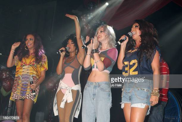 Jesy Nelson LeighAnne Pinnock Perrie Edwards and Jesy Nelson of Little Mix perform on stage for GAY night at Heaven on August 18 2012 in London...