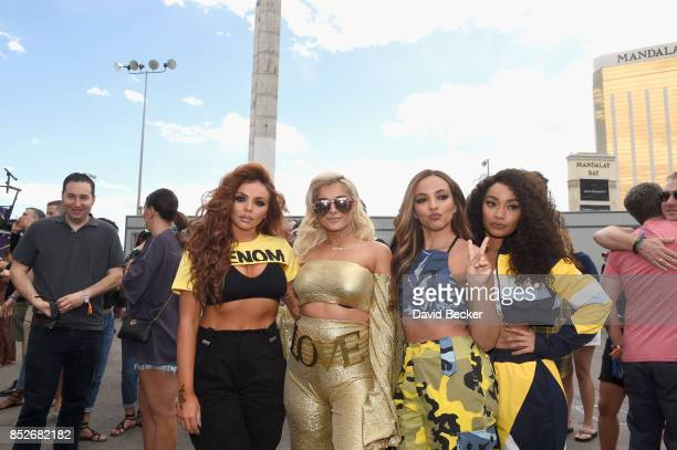 Jesy Nelson of Little Mix Bebe Rexha with Jade Thirlwall and LeighAnne Pinnock of Little Mix backstage during the Daytime Village Presented by...