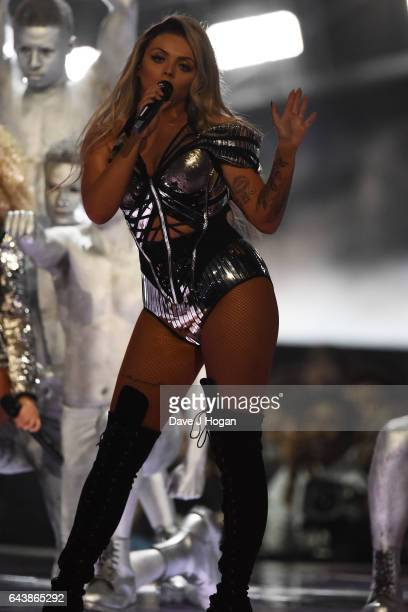 ONLY Jesy Nelson of the band Little Mix performs on stage at The BRIT Awards 2017 at The O2 Arena on February 22 2017 in London England