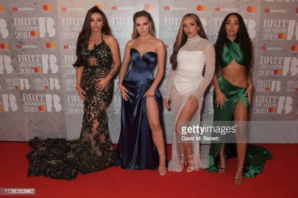 Jesy Nelson Perrie Edwards Jade Thirlwall and LeighAnne Pinnock arrive at The BRIT Awards 2019 held at The O2 Arena on February 20 2019 in London...