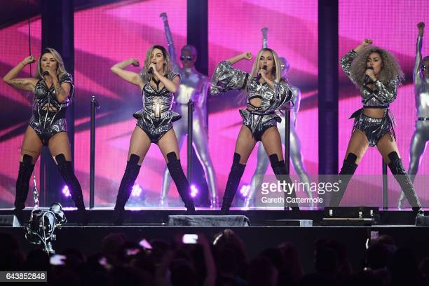 Jesy Nelson Perrie Edwards Jade Thirlwall and LeighAnne Pinnock of Little Mix perform on stage at The BRIT Awards 2017 at The O2 Arena on February 22...