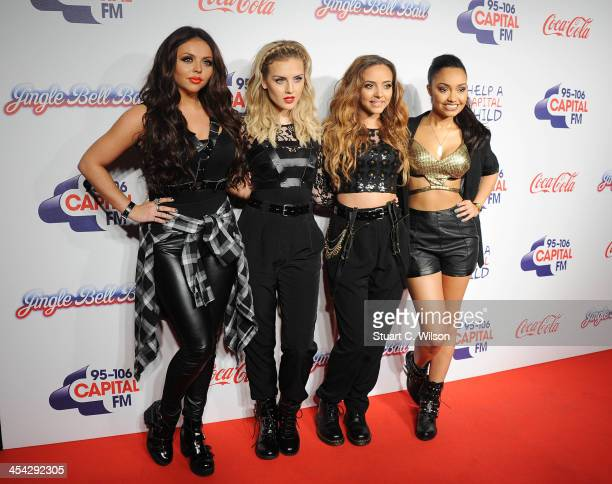 Jesy Nelson Perrie Edwards Jade Thirwall and LeighAnne Pinnock from 'Little Mix' attend on day 2 of the Capital FM Jingle Bell Ball at 02 Arena on...