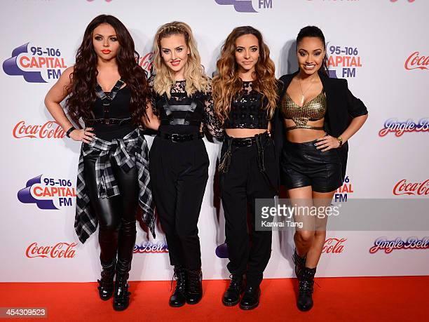 Jesy Nelson Perrie Edwards Jade Thirwall and LeighAnne Pinnock from girl band Little Mix attend on day 2 of the Capital FM Jingle Bell Ball at the 02...