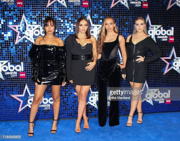 Jesy Nelson Perrie Edwards Leigh AnnePinnock and Jade Thirlwall of Little Mix attend The Global Awards 2019 at Eventim Apollo Hammersmith on March 07...