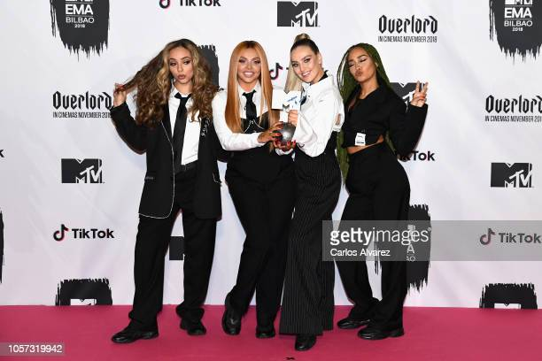 Jesy Nelson, Perrie Louise Edwards, Jade Thirlwall, Leigh-Anne Pinnock of Little Mix backstage during the MTV EMAs 2018 at Bilbao Exhibition Centre...