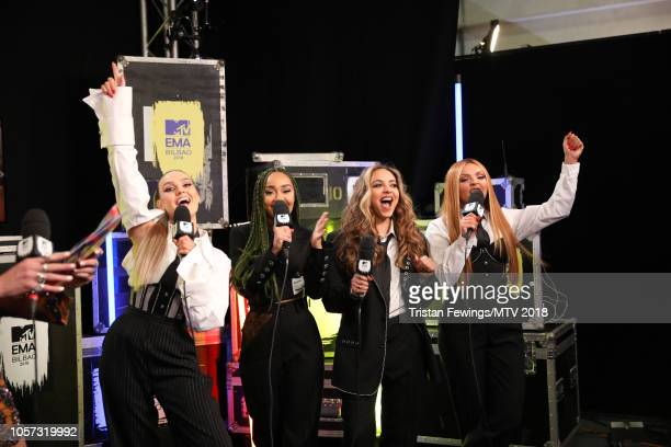 Jesy Nelson Perrie Louise Edwards Jade Thirlwall LeighAnne Pinnock of Little Mix backstage during the MTV EMAs 2018 at Bilbao Exhibition Centre on...