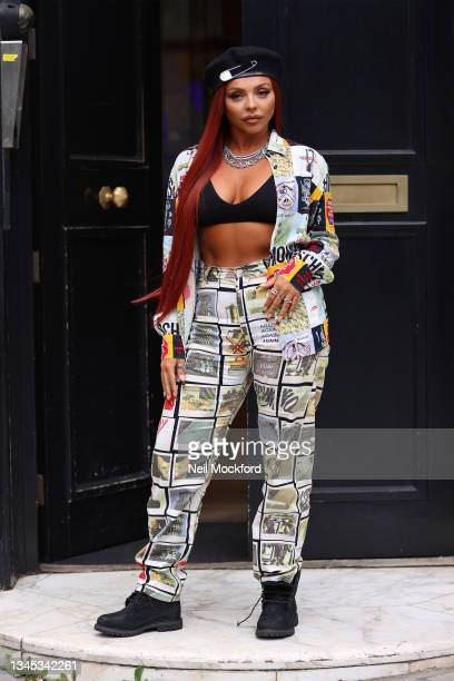 Jesy Nelson seen at KISS FM UK promoting her new solo single 'Boyz' on October 07, 2021 in London, England.