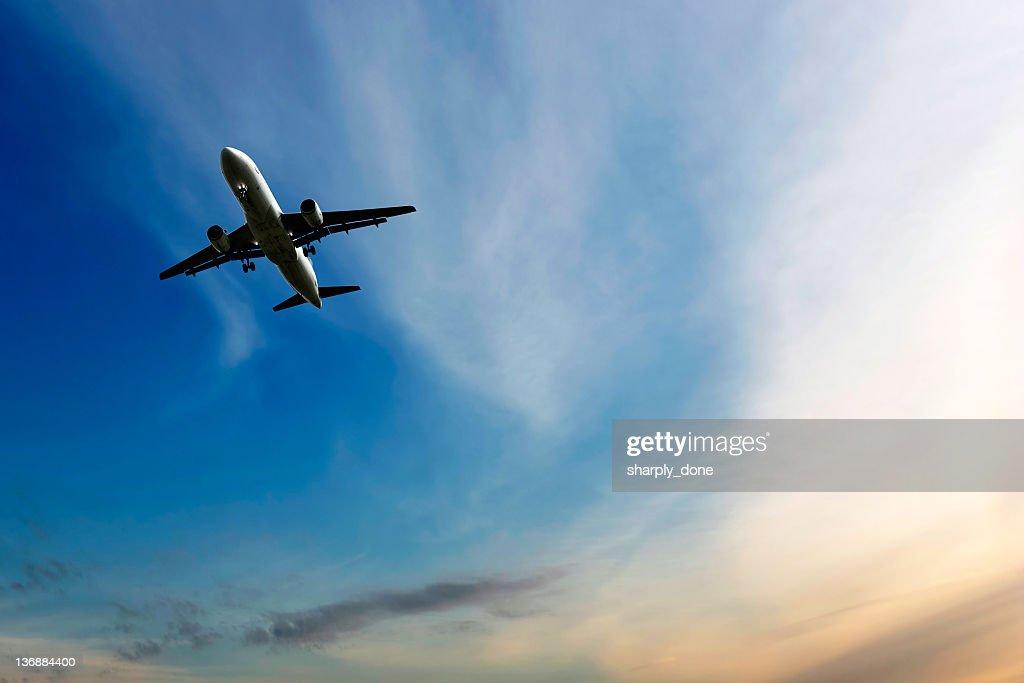 jet airplane landing at dusk : Stock Photo