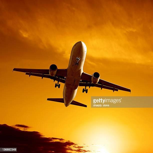 XL jet Avión aterrizando en el crepúsculo