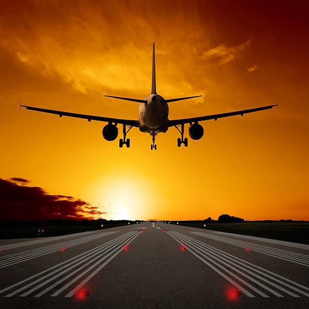 XL Jet Airplane Landing At Sunset Wall Art