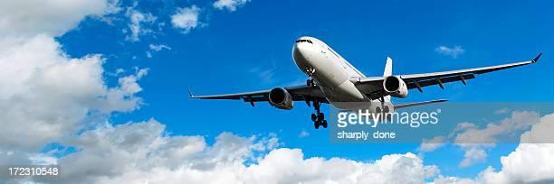 jet Avión aterrizando en el cielo brillante