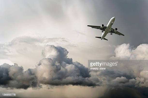 jet airplane landing in storm