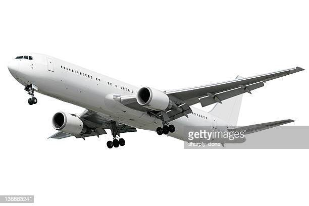 xxl jet airplane landing on white background - aeroplane stock photos and pictures
