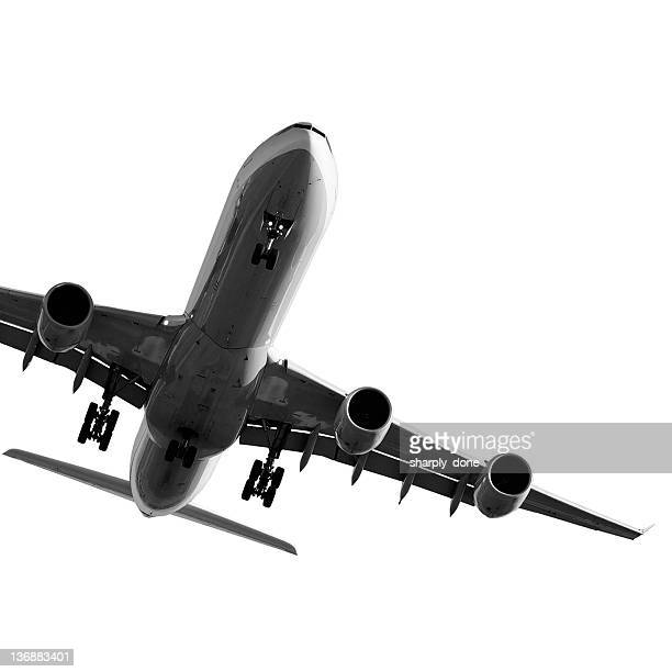 jet airplane landing on white background