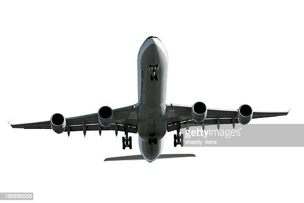 jet Avion atterrissant sur fond blanc