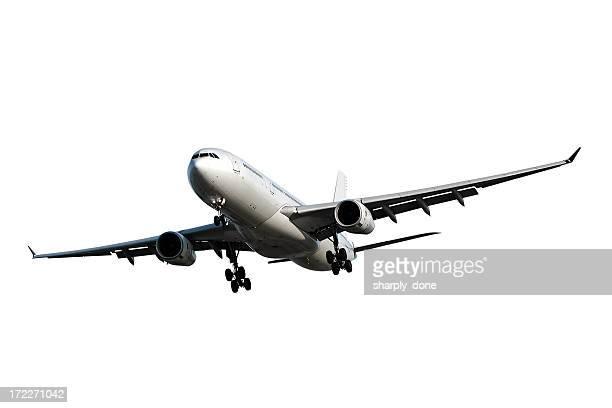 jet Avión aterrizando sobre fondo blanco