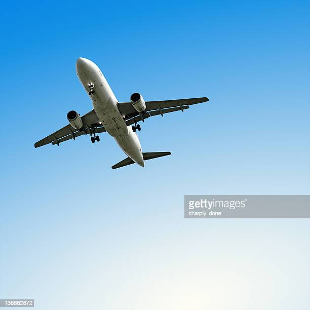 jet airplane landing with clear sky