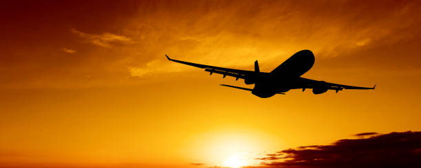 XL Jet Airplane Taking Off At Sunset Wall Art