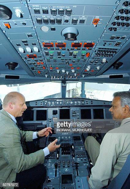 Jet Airways Vice President flight operations, Captain Gustav Baldauf shows off the cockpit of the newly acquired Jet Airways', Airbus A340-300E...
