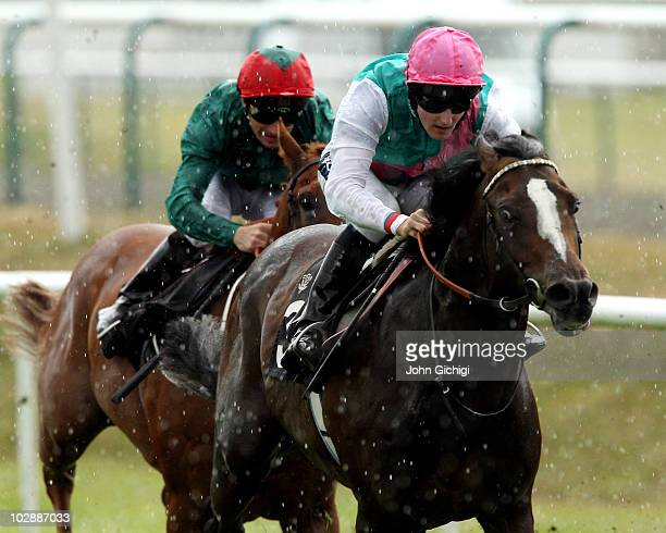 Jet Away ridden by Tom Queally breaks away to win The Bet In Running Betdaq Maiden Stakes on July 14 2010 at Lingfield Park in Lingfield England