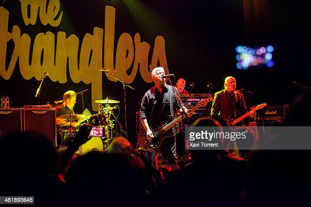 Jet Black JeanJacques Burnel Dave Greenfield and Baz Warne of The Stranglers performs in concert at Sala Barts on April 1 2014 in Barcelona Spain