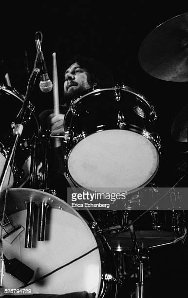 Jet Black of The Stranglers performs on stage at The Rainbow Theatre, Finsbury Park, London, United Kingdom, January 30th 1977.