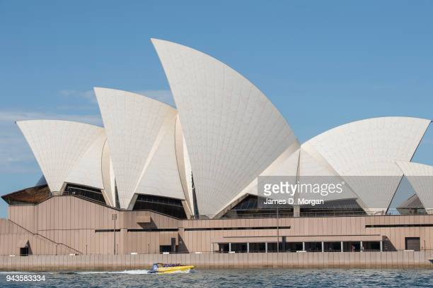 A jet boat arrives back into Circular Quay passing the opera house on April 9 2018 in Sydney Australia Sydney has been experiencing unseasonably high...
