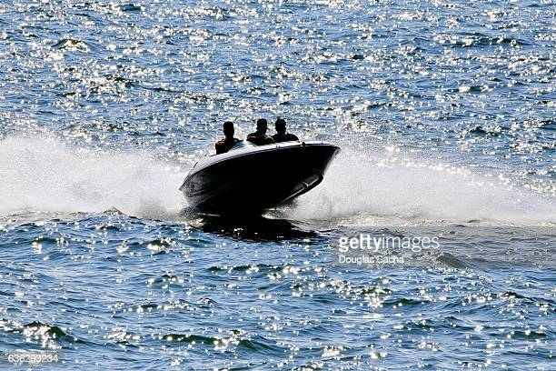 Jet boat riding the waves